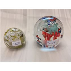 Glass paperweights (2)