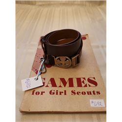 Girl Guide Leather belt, size 36, and Games for Girl Scouts, 1949