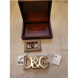 Designer buckles, Dolce Gabbana and Chanel in rhinestones