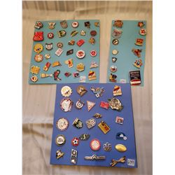 Lot of 3 cards of assorted lapel pins