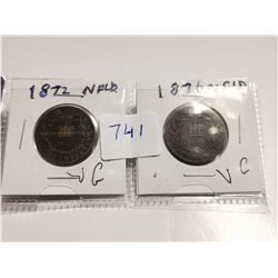 1872 & 1876 NFLD one cent coins