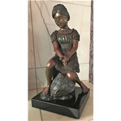 "Adolf Sehring Bronze Statue, Sitting Girl, Limited Edition, 7"" x 7"" x 14"" Tall"