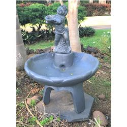 "Old World Cement Cupid Fountain  32""x32""x49"""