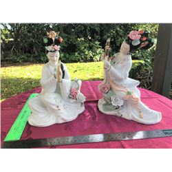 Porcelain Geisha Figurines, Genuine 24 KT Gold Accents,  8''x4''x10.5''