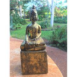 Indoor Buddha Statue, Rustic Antique Look. 7.5'' x 5''x 19.5''