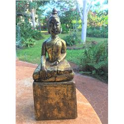 Indoor Buddha Statue, Rustic Antique Look 7.5'' x 5''x 19.5''