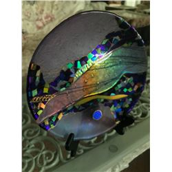Vintage Fused & Slumped Fine Art Glass Plate, 10 1/2'' Dia.