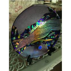 Vintage Fused & Slumped Fine Art Glass Plate, 10 1/2'' Dia.