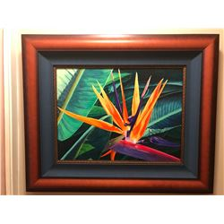 "Original Oil Painting ""Jungle Fire"" by Dianne Lassen Winter,  sister of Christian Riese Lassen 35''"