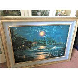 "Framed ""Lahaina Starlight"" Ltd. Ed. Fine Art Print by Artist Christian Riese Lassen 47'' x 35''"