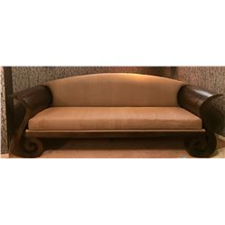 "High-End Custom Sofa with ""Scroll Design"" Solid Exotic Wood Frame 96''L x 36.5''D x 29''"