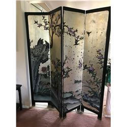 Four-Panel Antique Black Lacquer Shoji Screen, Hand-Painted w/ Silver Leaf Accents