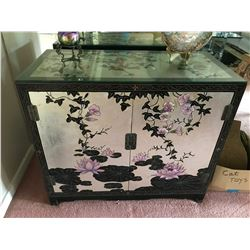 Asian Antique Black Lacquer Cabinet Handpainted w/ Silver Leaf Accents 36'' x 18'' x 31''