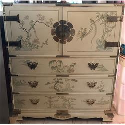 Mid-Century Asian Dresser w/ Ornate Engraved Door Pulls & Hinges, Hand-Painted Scenes 42'' x 48'' x