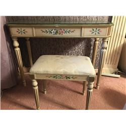 Writing Desk w/ Hand-Painted Flowers & Gold Accents 40'' x 15'' x 30'' (Chair 19'' x 18'' x 12'')