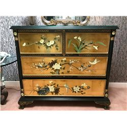 RARE Mid-Century Black Lacquer Asian Dresser w/ Hand-Painted Accents & Genuine Gold Leaf 40'' x 20''