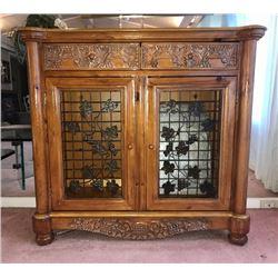 Beautifully Hand-Carved Hardwood Cabinet (Used as Bar or Buffet) 44.5 x19.5 x41.5