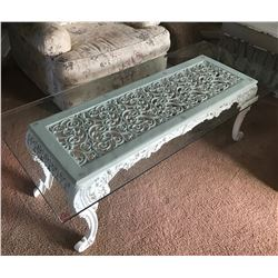 """White Coffee Table 1/2"""" Thick Plate Glass Table Top, Made by Master Artisan in Georgia"""