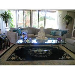 Designer Coffee Table of Heavy Plate Glass 60  x 30'' x ''18 H (Glass 1/2  Thick)