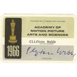 Clifton Webb Signed AMPAS Card.
