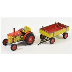 Vintage Zetor Tin Litho Wind-Up Tractor & Trailer