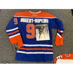NO RESERVE RYAN NUGENT-HOPKINS AUTOGRAPHED OILERS JERSEY AND PRINT