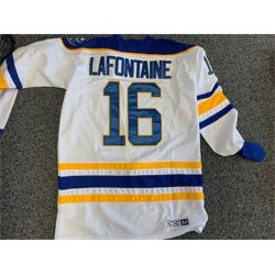 NO RESERVE AUTOGRAPHED PAT LAFONTAINE BUFFALO SABERS HOCKEY JERSEY