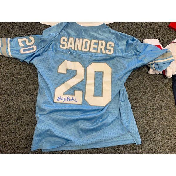 NO RESERVE AUTOGRAPHED BARRY SANDERS DETROIT LIONS NFL FOOTBALL JERSEY