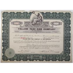 Yellow Taxi Cab Company of Los Angeles 1920 I/U Stock Certificate Rarity