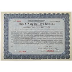 Black & White and Town Taxis, Inc. Stock Certificate