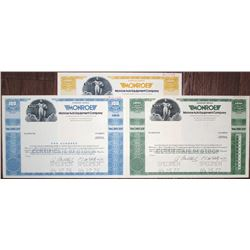 Monroe Auto Equipment Co. Specimen Stock Certificate Trio, ca. 1976-1977