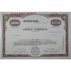 Vesely Co. 1968 Specimen Stock Certificate