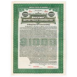 Brockway Motor Truck Corp. 1922 Specimen Bond.