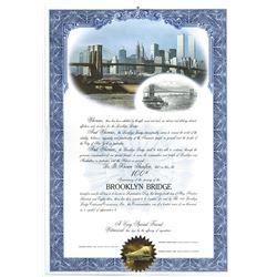 Brooklyn Bridge Centennial Celebration 1983 Certificate