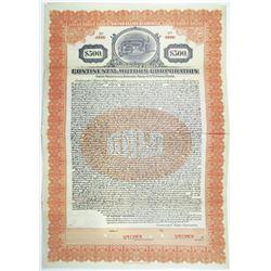Continental Motors Corp. 1924 Specimen Bond
