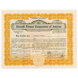 Aircraft Finance Corporation of America, 1929 I/U Stock Certificate & Letterhead.