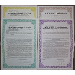 Northrop Corporation, 1987 Specimen Stock Option Certificate Quartet