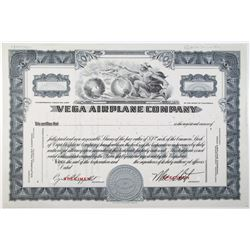 Vega Airplane Co., 1937 Specimen Stock Certificate, a Subsidiary of Lockheed