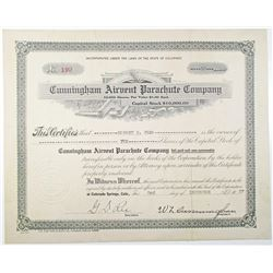 Cunningham Airvent Parachute Co. 1937 I/U Stock Certificate