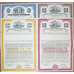 Ling-Temco-Vought, Inc. & United Aircraft Corp., circa 1962 to 1968 Specimen Bond Quartet