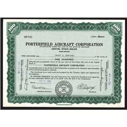 Porterfield Aircraft Corporation 1939 Stock Certificate