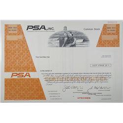 PSA, Inc., 1970-80's Specimen Stock Certificate