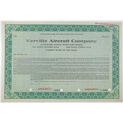 Verville Aircraft Co., 1920-1931 Specimen Stock Certificate