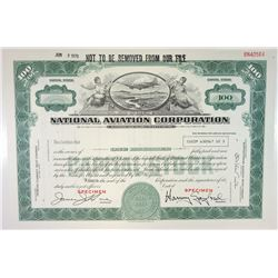 National Aviation Corp., 1970 Specimen Stock Certificate.