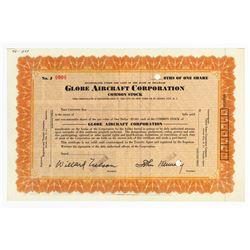 Globe Aircraft Corp., 1930's Specimen Stock Certificate