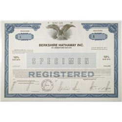 Berkshire Hathaway Inc. 1987 Specimen Registered Bond with Facsimile Signature of Warren Buffett.