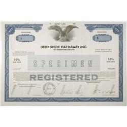 Berkshire Hathaway Inc. 1987 Specimen Registered Bond with Facsimile Signature of Warren Buffett.