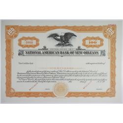 National American Bank of New Orleans, 1920-30's Specimen Stock Certificate
