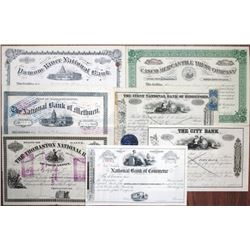 Maine, Massachusetts and Connecticut, ca.1870 to 1932 Banking Stock Certificate Group of 7