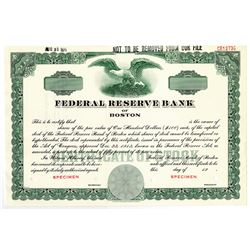 Federal Reserve Bank of Boston 1971 Specimen Stock Certificate